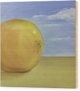 Giant Orange On The Beach  Wood Print