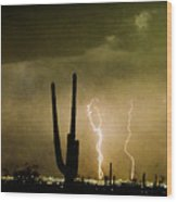 Giant Saguaro Southwest Lightning  Peace Out  Wood Print