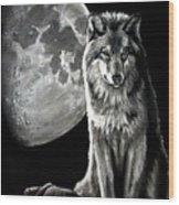 Gibbous Wolf Wood Print