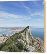 Gibraltar Rock Bay And Town Wood Print