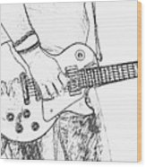 Gibson Les Paul Guitar Sketch Wood Print