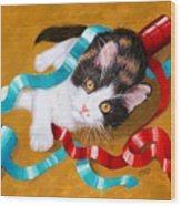 Gift Wrapped Kitty Wood Print