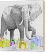 Gift Wrapping Elephant Wood Print