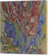 Gilded Flowers Wood Print