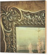 Gilded Mirror Reflection Of Chandelier Wood Print