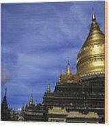 Gilded Stupa Of The Shwezigon Pagoda In Bagan Wood Print