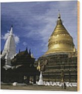 Gilded Stupa Of The Shwezigon Pagoda Wood Print by Sami Sarkis