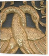 Gilded Temple Carving Of Geese Wood Print