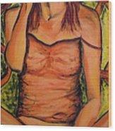 Gina The Smoking Woman Wood Print