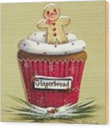 Gingerbread Cookie Cupcake Wood Print