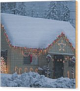 Gingerbread House In Snow Wood Print