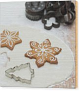 Gingerbread Making - Christmas Preparing With Vintage Kitchen Tools Wood Print