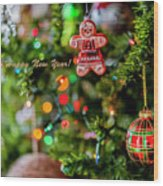 Gingerbread Man With Happy New Year 4350 Wood Print