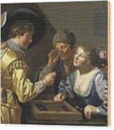 Giocatori Di Backgammon Wood Print