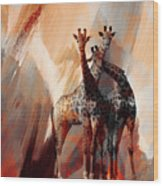Giraffe Abstract Art 002 Wood Print