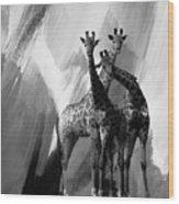 Giraffe Abstract Art Black And White Wood Print