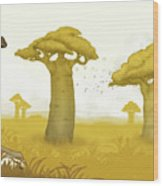 Giraffe And Savanna Wood Print