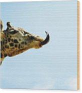 Giraffe And Tongue Wood Print