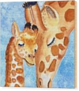 Giraffe Baby And Mother Wood Print