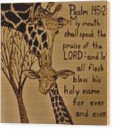 Giraffe Bible Verse Wood Print