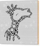 Giraffe Black Star Wood Print