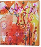 Giraffe Delightful Deborah Wood Print