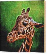 Giraffe Fractal Wood Print