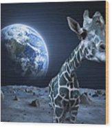 Giraffe On Moon Wood Print
