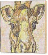 Giraffe Postcard Wood Print