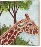 Giraffe Profile Wood Print