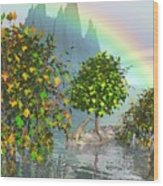 Giraffe Rainbow Heaven Wood Print