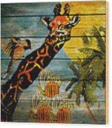 Giraffe Rustic Wood Print