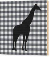 Giraffe Silhouette Wood Print