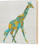 Giraffe Watercolor Art Wood Print