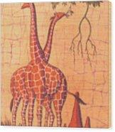 Giraffes Feeding Wood Print