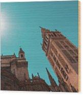 La Giralda Bell Tower Brilliantly Lit In Teal And Orange Wood Print
