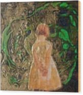 Girl And A Beanstalk  Wood Print