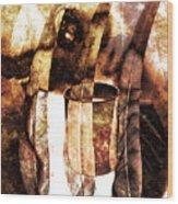 Woman In Fall Wood Print