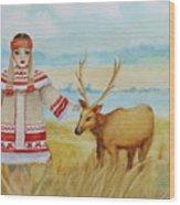 Girl And Deer Wood Print