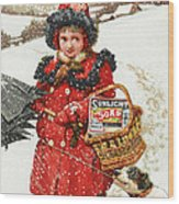 Girl And Dog In Ad For Sunlight Soap Wood Print