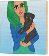 Girl And Dog Pet Wood Print