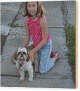 Girl And Her Dog Wood Print