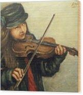 Girl And Her Violin Wood Print