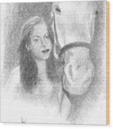 Girl And Horse Wood Print