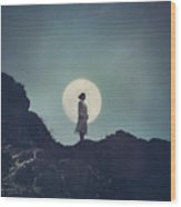 Girl And The Moon Wood Print