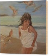 Girl And The Seagulls Wood Print
