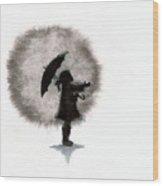 Girl And Umbrella Wood Print