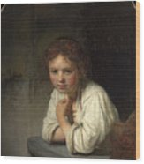 Girl At A Window  Wood Print