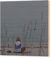Girl At Beach Wood Print