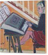 Girl At Keyboard Wood Print